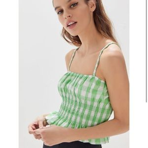 Urban Outfitters Smocked Ruffle Crop Top